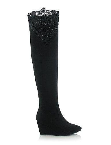 Eu36 Uk8 Xzz Vellón 5 Vestido Moda Casual Cn4 Eu42 Zapatos us10 Black Encaje A De us6 Black Negro 5 Cn43 Cn36 Mujer Cuñas Tacón La Uk4 Cuña Botas Puntiagudos RFR1qrw
