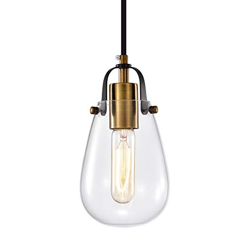 Industrial Mini Glass Pendant Lighting 1-Light Bronze Hanging Light Fixture