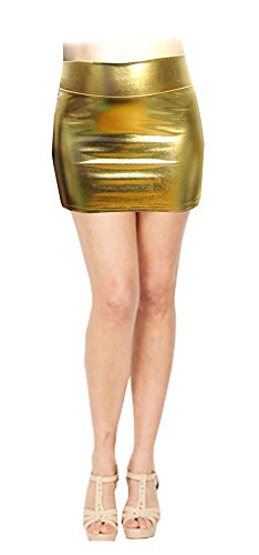 SACASUSA (TM) Shiny Stretchy Metallic Wet Look Mini Skirts in Gold -