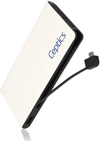 Powerbank Portable Battery Charger by Ceptics - 10,000 mAH Ultra Light Compact Slim High Speed Charging Capability - USB-C, Lightning Cable Integrated for iPhone, Samsung Galaxy - Pocket Size
