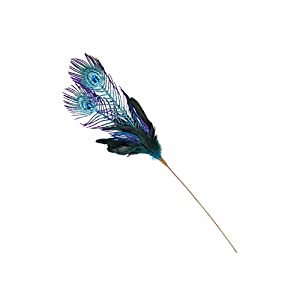 "Northlight 26"" Purple and Blue Peacock Feather with Faux Jewel Christmas Pick 3"