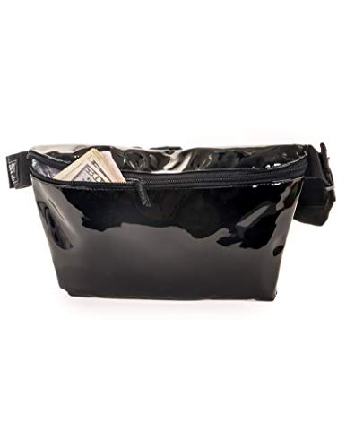 FYDELITY- XL Plus Size Ultra-Slim Fanny Pack w/Extra Long Waist Belt Bag   PATENT Black High Glossy Shiny Festival  For Fashion Accessories/Small Waist Pouch/Hip Sack/Bumbag/Belly