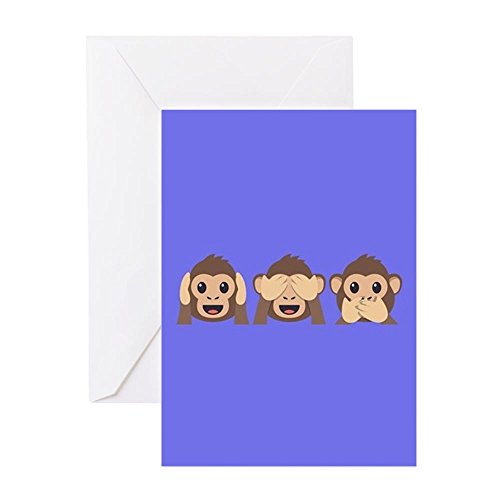 - CafePress Hear See Speak No Evil Monkey Greeting Card, Note Card, Birthday Card, Blank Inside Matte