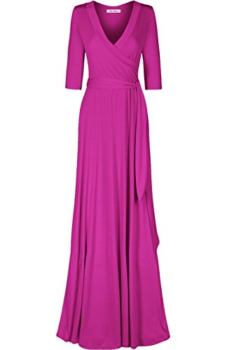 Paris Women's Sleeve Maxi Bon Classic 4 Dress Wrap Magenta1 Rosy 3 a6wqUP