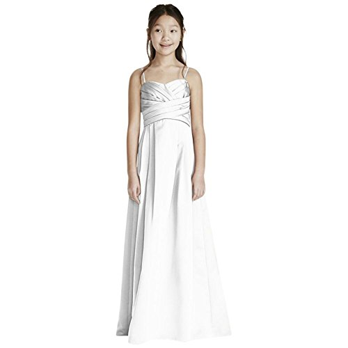 David's Bridal Satin Sweetheart Ball Gown with Pleated Bodice Style WJB0692, White, 14 by David's Bridal