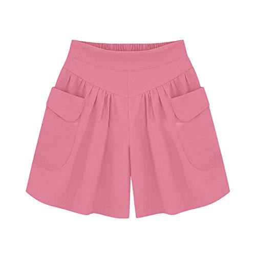 VINTRESS Women Plus Size Solid Loose Hot Pants Pockets Lady Summer Casual Shorts (XXXXL, Prink)