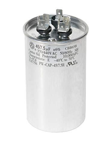 (PowerWell 45+7.5 uf MFD 370 or 440 Volt Dual Run Round Capacitor TP-CAP-45/7.5/440R Condenser Straight Cool/Heat Pump Air)