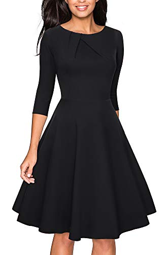 VELJIE Women's Vintage Scoop Neck Casual Party Flare Dress (Black - 3/4 Sleeve, 8)