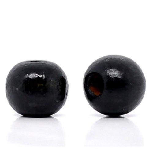 600 Round Black Wood Beads Bulk 10 x 9mm Diameter 3mm Large Hole