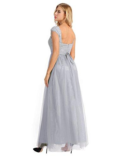 Demoiselle Femme de d'honneur Soie FR 34 Haut de en Elegant 46 Mousseline Longue Robe Maxi Soire iEFiEL Gris Lace Taille Robe Robe wEI7Fq7