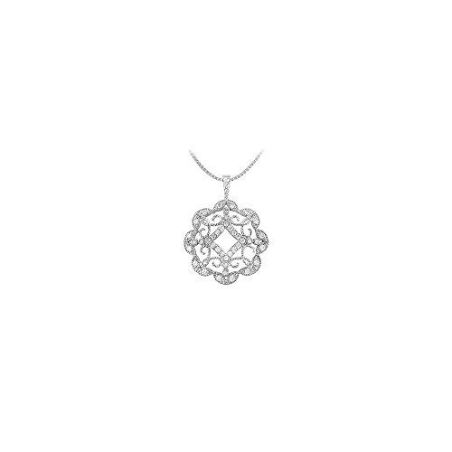 Diamond Floral Circle Pendant 14K White Gold 0.50 CT Diamonds