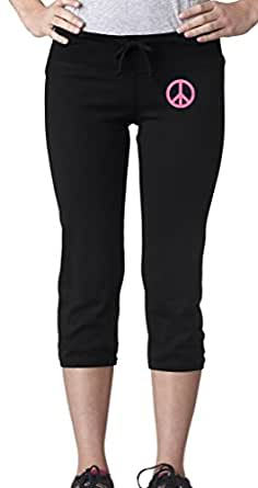 Ladies PINK PEACE Capri Scrunch Pants, Small Black (hip print)