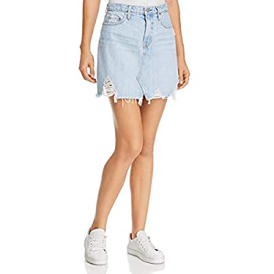 Nobody Womens Piper Distressed High Rise Denim Skirt