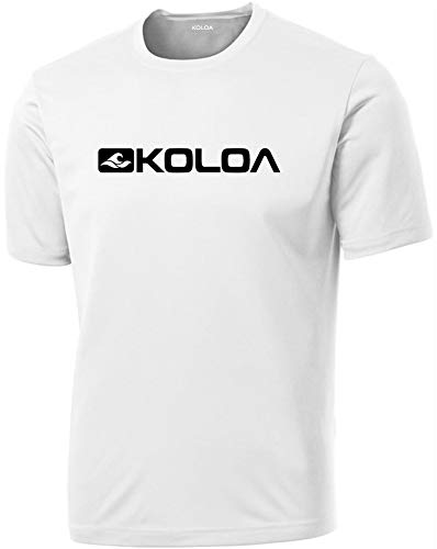 (Joe's USA Koloa Side Logo Athletic All Sport Training T-Shirts-White/b-XL)