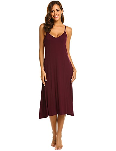 Hotouch Women's Dresses-Summer Solid Spaghetti Strap V Neck Swing Midi Dress Wine red s ()