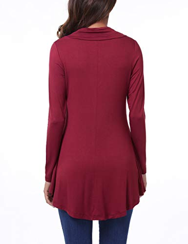 Manches Longues Shirt Femmes T Hem Bouton Violet Bnitier Col Flared BaiShengGT rouge Blouse OqHTT