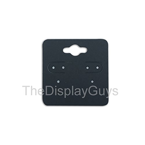 """The Display Guys Pack of 100 pcs 2x2"""" inch (5x5 cm) Matte Black Paper Necklace Earrings Display Hanging Cards for Jewelry Accessory Display"""
