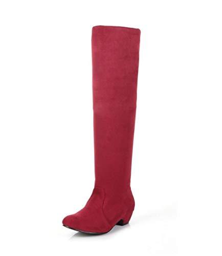 Women's Stretchy Low Heel Boot(Red-39/8 B(M) US Women)