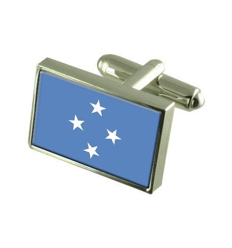 Micronésie Boutons de manchette drapeau avec select pochette cadeaux