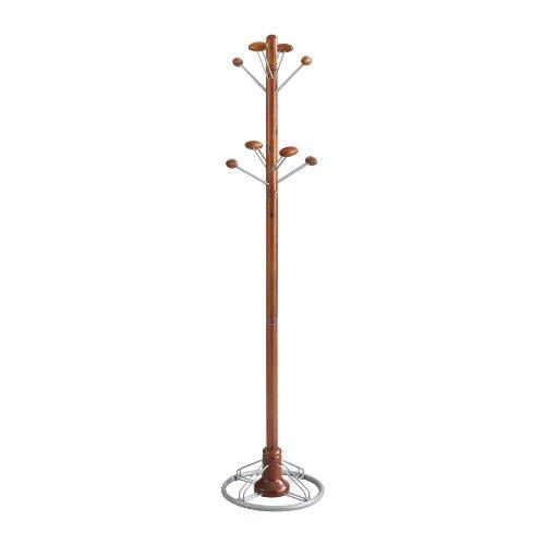 [Safco Products 4240CY Modern Costumer Coat Rack Tree, Cherry] (Wood Costumer)