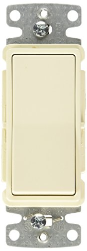 Hubbell Wiring Systems RSD315ILLA tradeSELECT Three Way Illuminated Decorator Quiet Rocker Switch, 15A, 120V AC, Light Almond -