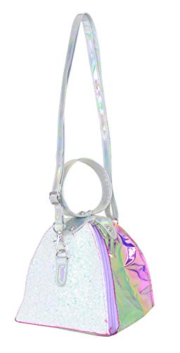 (American Jewel Loop Handle Phone Bag - Iridescent Hologram and White Glitter Small Crossbody Purse for Girls )