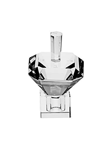 Copa Judaica Crystal Double Pyramid Dreidel-Collectible-Etched Hebrew Letters