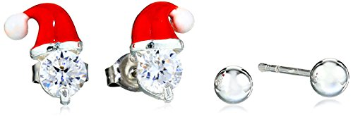 UPC 014844755415, Silver Plated Crystal Santa Hat Ball 2-Pair Holiday Stud Earrings Jewelry Set