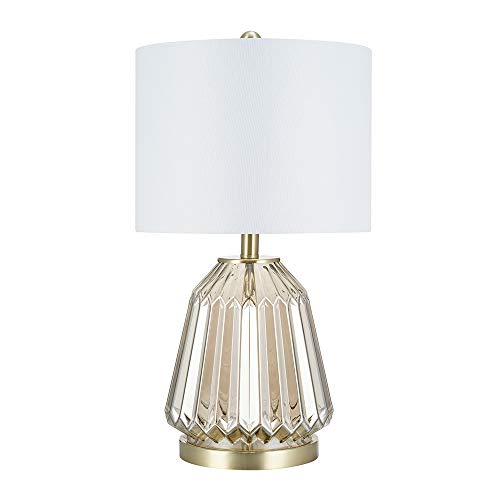"Catalina Lighting 22144-000 Transitional 3-Way Ribbed Clear Glass Table Lamp with Linen Shade, 23.5"", Champagne"