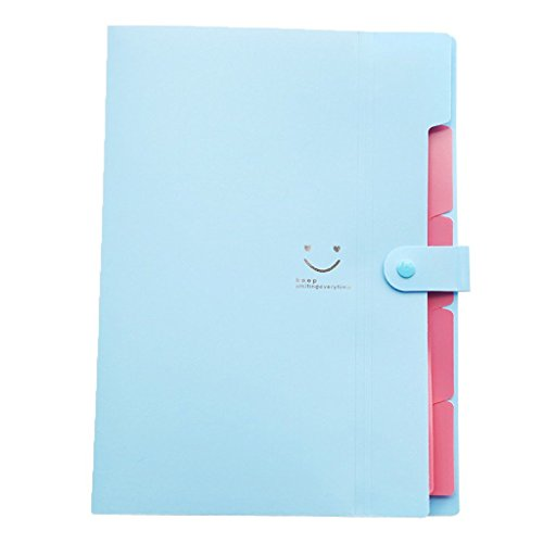 Hand-held Portable Lovely Daystyle A4 Sized Letter Expanding File Folder with 5 Pockets for Student office-Blue Divided Pocket