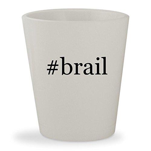 Tag Display Labeler - #brail - White Hashtag Ceramic 1.5oz Shot Glass