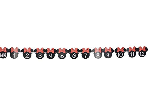 OrangeDolly Minnie mouse 12 month photo banner | one banner | Minnie Mouse Birthday Banner| Minnie mouse party supplies| Minnie mouse clubhouse party| First Birthday Decorations (Red Bow) -