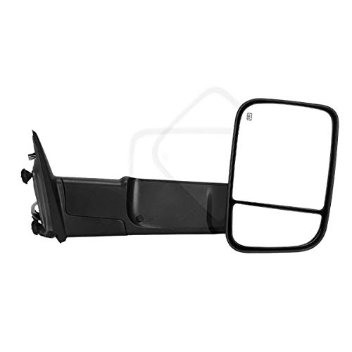 Maxiii Compatible for Dodge RAM Passenger Right Side Towing Mirror, 2009-2015 Dodge RAM 1500 Right Side Tow Mirror, 2010-2015 RAM 2500 3500 Trailer Tow Mirror, Power Heated Truck Mirror Manual