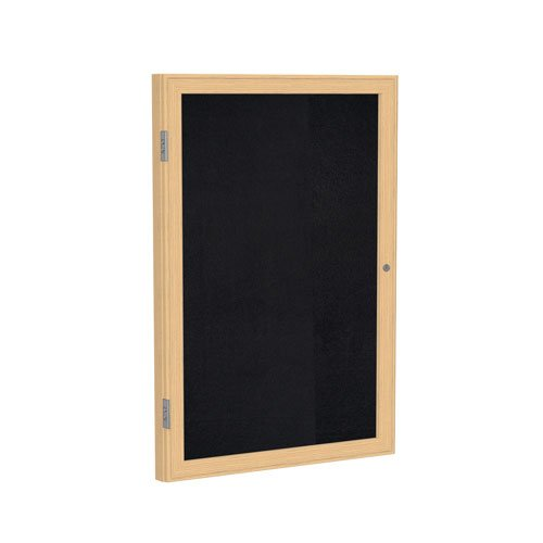 Ghent 36''x24'' 1-Door indoor Enclosed Recycled Rubber Bulletin Board, Shatter Resistant, with Lock, Wood Frame Oak Finish-Black (PW13624TR-BK), Made in the USA by Ghent