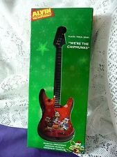 Alvin And The Chipmunks Musical Guitar Ornament Plays 'We're The Chipmunks' Red Design On Red Guitar