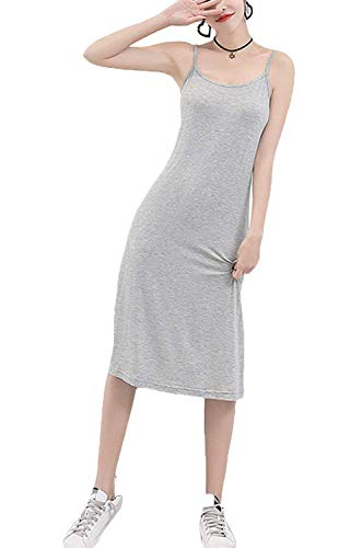 Length Options mid Slip,O Anboer 3 Modal Dress Cami Lingerie Full Womens Nightwear Soft Neck Slip calf Grey q77InTZwOr
