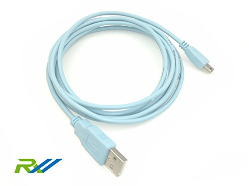 RoutersWholesale - 6FT USB to Mini USB Network Routers Cable CAB-CONSOLE-USB USB Console Cable for Cisco Routers and Switches