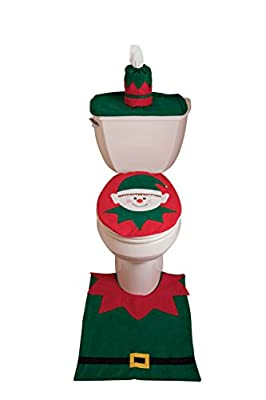 Elf Christmas Themed Toilet Seat Lid & Tank Cover with Floor Mat & Tissue Box Cover | Elastic Band for Quick & Easy Installation | Elf with Red & Green Outfit Holiday Decor Theme | Fits Most Toilets