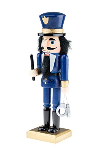 Clever Creations Wooden Police Officer Traditional Christmas Nutcracker | Police Uniform and Holding Night Stick and Hand Cuffs | Festive Christmas Decor | 10