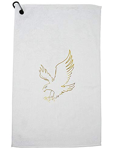 Hollywood Thread Soaring Majestic American Bald Eagle Graphic Golf Towel with Carabiner Clip