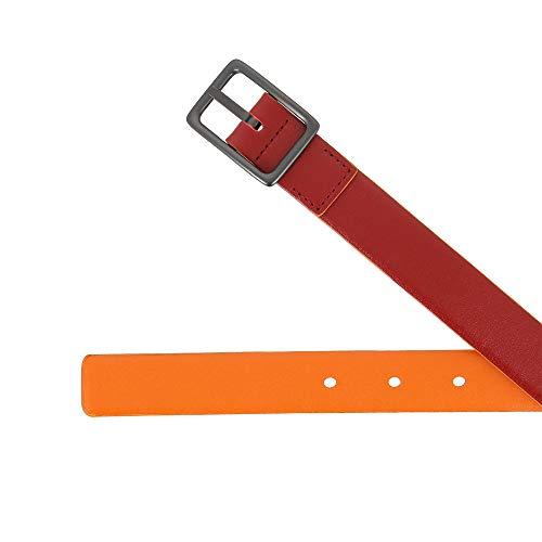 Rosso Metallo Pelle 24mm Fibbia H Vera Cm Accorciabile Da 95 In Donna Dudu Bicolore Made Cintura Italy Con Rx6CwXnTq