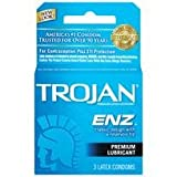 Bundle Package Of Trojan Enz Lubricated 1 - 3 pack And a Bottle of 1.7 -oz Personal Silicone Lubricant