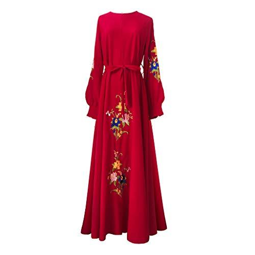 (Sunyastor Muslim Dress for Women Kaftan Long Sleeve Casual Embroidered Maxi Dress Dubai Muslim Abaya Long Gown)