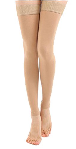 TOFLY Thigh High Compression Stockings Opaque, Firm Support 15-20 mmHg Gradient Compression with Silicone Band, Footless Compression Sleeves, Treatment Swelling, Varicose Veins, Edema, Beige L ()