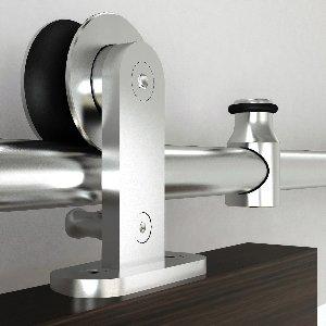 Barn Door Hardware Kit w/Soft-Close, Round Rail, Top Mount Kit by handyct