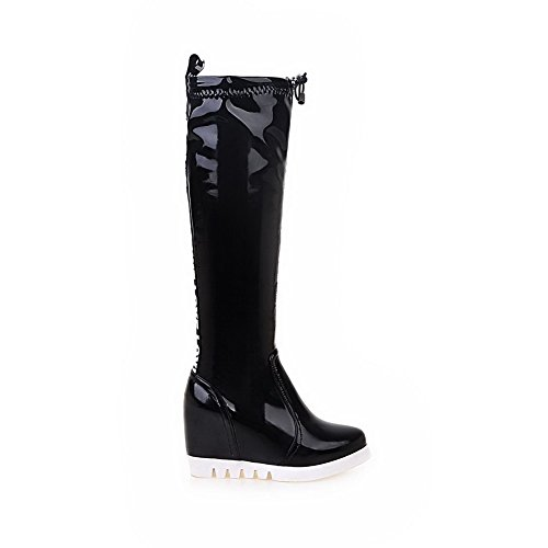 AmoonyFashion Womens Patent Leather Round Closed Toe Assorted Color High-Top High-Heels Boots Black brlurtI