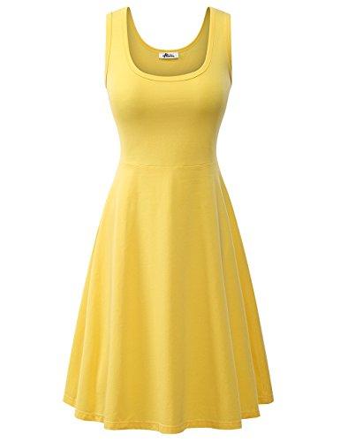 Herou Beach Casual Tank Dresses for Women Yellow X-Large ()