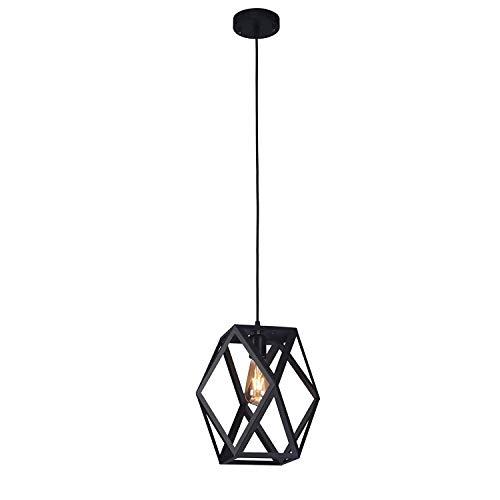 Major-Q Industrial Style Black Metal Prism Shape Frame Ceiling Hanging Single Bulb Pendant Light, Rl90a0010
