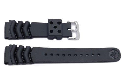 Genuine Synthetic Rubber Black Divers Water Resistant 22mm Watch Strap by Seiko