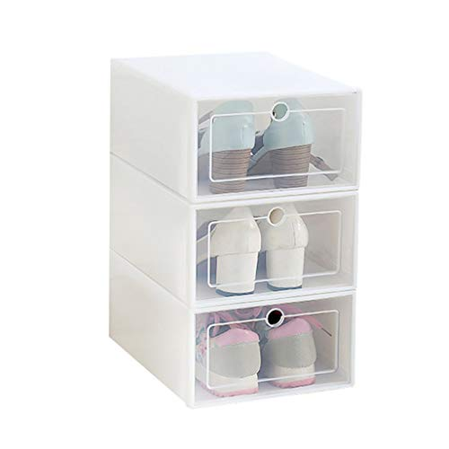 Ktyssp 3PCS Foldable Shoe Storage Boxes Shoe Organizer Transparent Plastic Shoe Storage (White) (Best Kitchen Ventilation Systems)